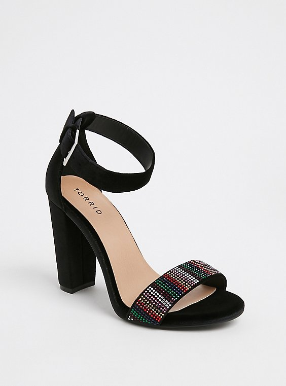 Black Velvet Rainbow Rhinestone Tapered Heel (WW), , hi-res
