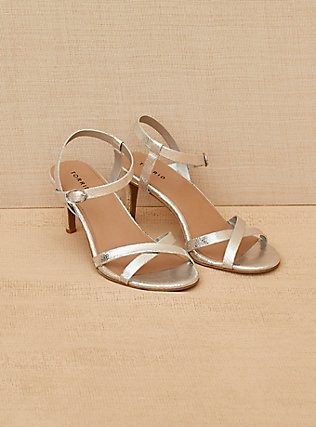 Silver-Tone Faux Leather Strappy Heel (WW) , SILVER, alternate