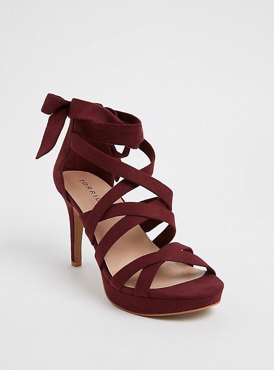 Burgundy Red Strappy Platform Heel (Wide Width), , hi-res