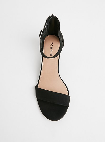 Plus Size Black Faux Suede Ankle Strap Demi Wedge (WW), BLACK, alternate