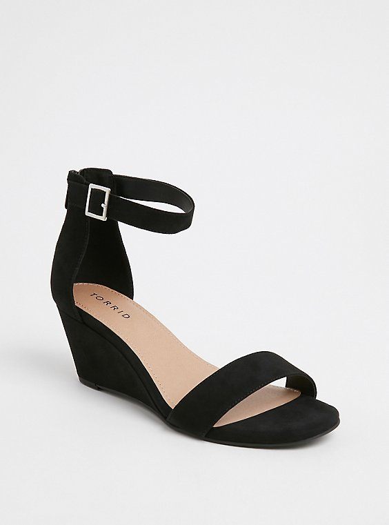 Plus Size Black Faux Suede Ankle Strap Demi Wedge (WW), , hi-res