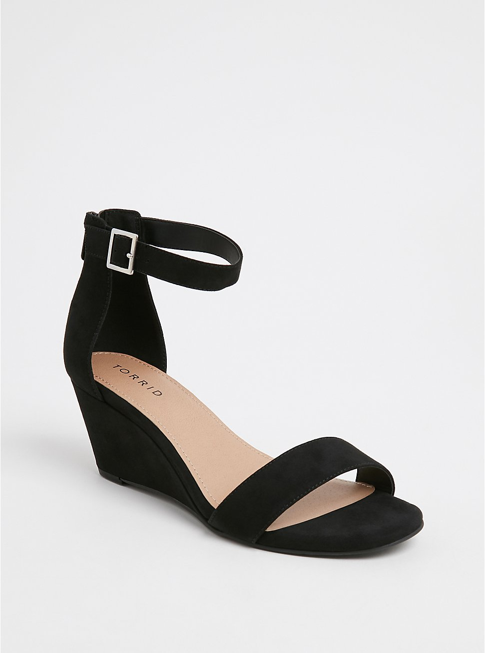 Plus Size Black Faux Suede Ankle Strap Demi Wedge (WW), BLACK, hi-res