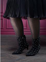 Black Faux Suede Studded Kitten Heel Bootie (WW), BLACK, hi-res