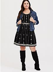 Black & White Star Sweater-Knit Skater Dress, STARS-BLACK, alternate