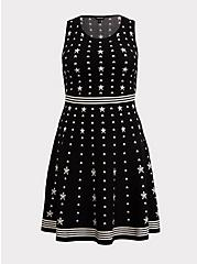 Black & White Star Sweater-Knit Skater Dress, STARS-BLACK, hi-res