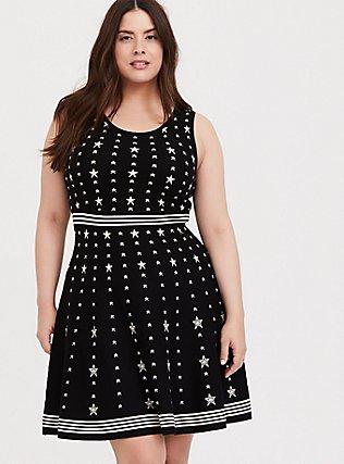 Black & White Star Sweater-Knit Skater Dress, STARS-BLACK, hi-res