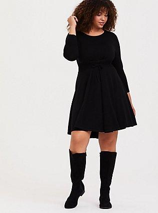 Black Sweater-Knit Corset Skater Dress, DEEP BLACK, alternate