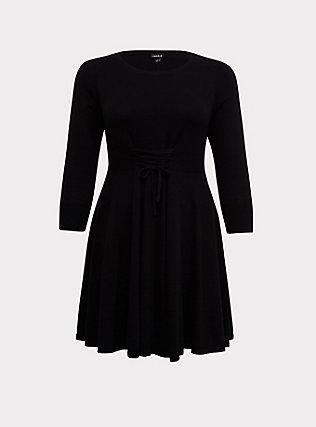 Black Sweater-Knit Corset Skater Dress, DEEP BLACK, flat