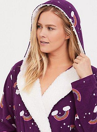 Purple Rainbow Waffle Fleece Sleep Robe, MULTI, alternate