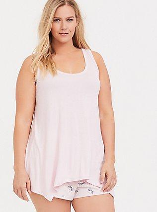 Blush Pink Handkerchief Sleep Tank, PINK, hi-res