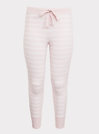 Pink & White Stripe Drawstring Sleep Pant, MULTI, flat