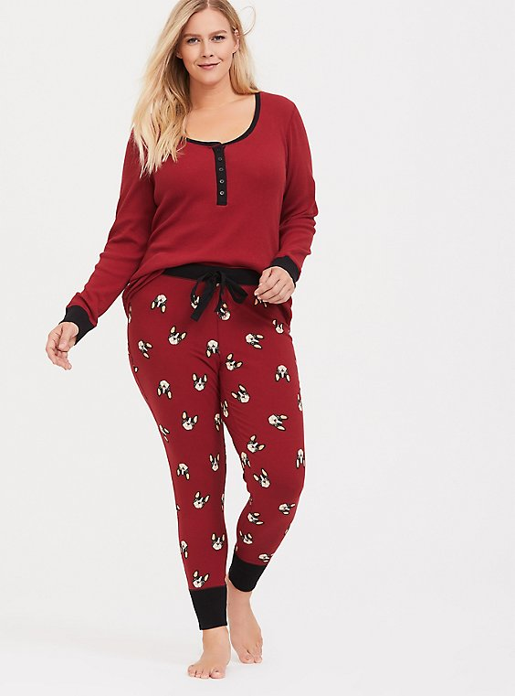 Red Frenchie Print Sleep Pant, , hi-res
