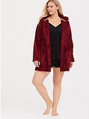 Dark Red Fuzzy Sleep Robe, RED, alternate