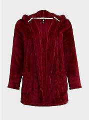 Dark Red Fuzzy Sleep Robe, RED, hi-res