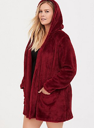 Dark Red Fuzzy Sleep Robe, RED, hi-res