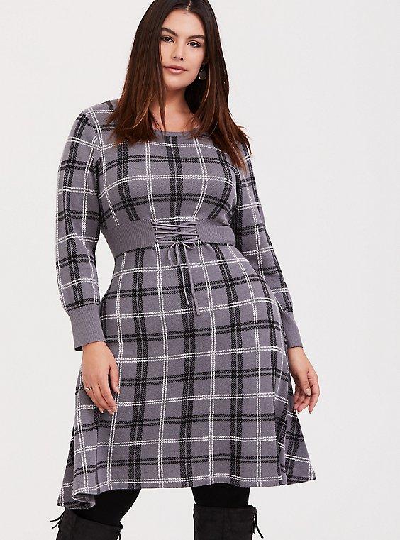 Grey Plaid Sweater Knit Corset Skater Dress, , hi-res