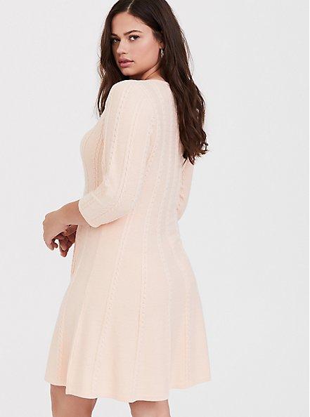 Light Pink Cable Knit Sweater Dress, PALE BLUSH, alternate