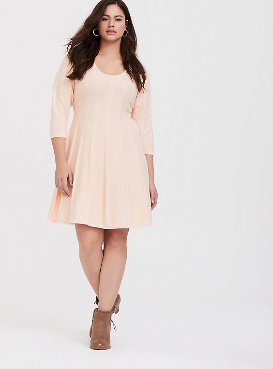 Plus Size Light Pink Cable Knit Sweater Dress, , hi-res