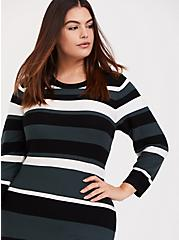 Green Multi Stripe Rib Sweater-Knit Bodycon Dress, STRIPE - GREEN, alternate