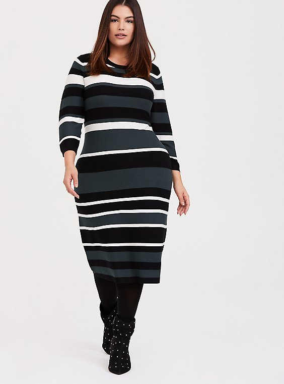Green Multi Stripe Rib Sweater-Knit Bodycon Dress, , hi-res