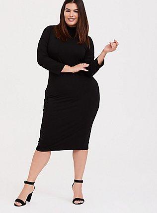Black Jersey Turtleneck Bodycon Midi Dress, DEEP BLACK, hi-res