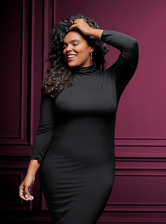 Black Jersey Turtleneck Bodycon Midi Dress - Plus Size | Torrid