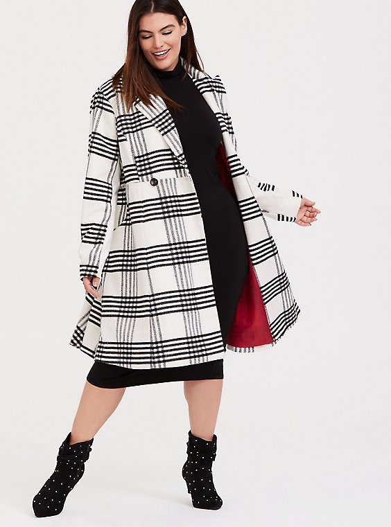 Plus Size White & Black Plaid Woolen Statement Coat, , hi-res