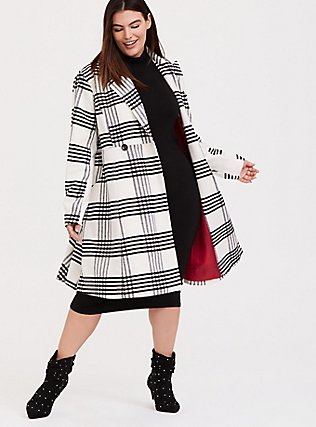 White & Black Plaid Woolen Statement Coat, PLAID, hi-res