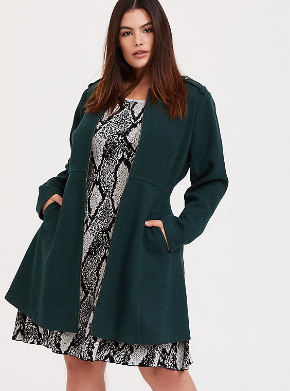 Green Herringbone Woolen Fit & Flare Coat, , hi-res