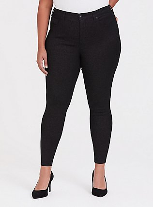 Plus Size Sky High Skinny Jean - Premium Stretch Black Sparkle, SPARKLE, hi-res