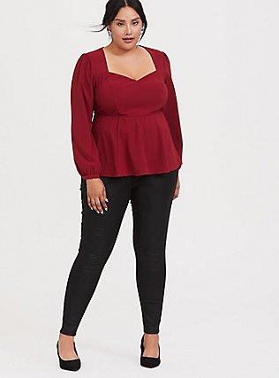 Dark Red Crepe Long Sleeve Peplum Blouse, BIKING RED, alternate