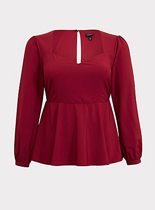 Dark Red Crepe Long Sleeve Peplum Blouse, BIKING RED, flat