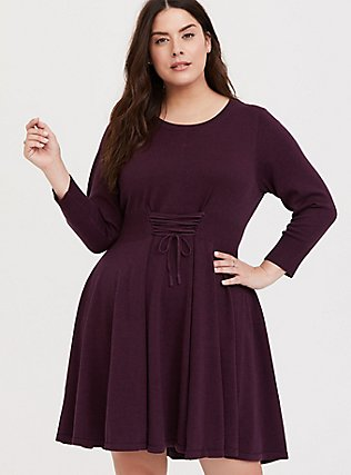 Burgundy Purple Sweater-Knit Corset Skater Dress, TOFFEE BROWN, hi-res