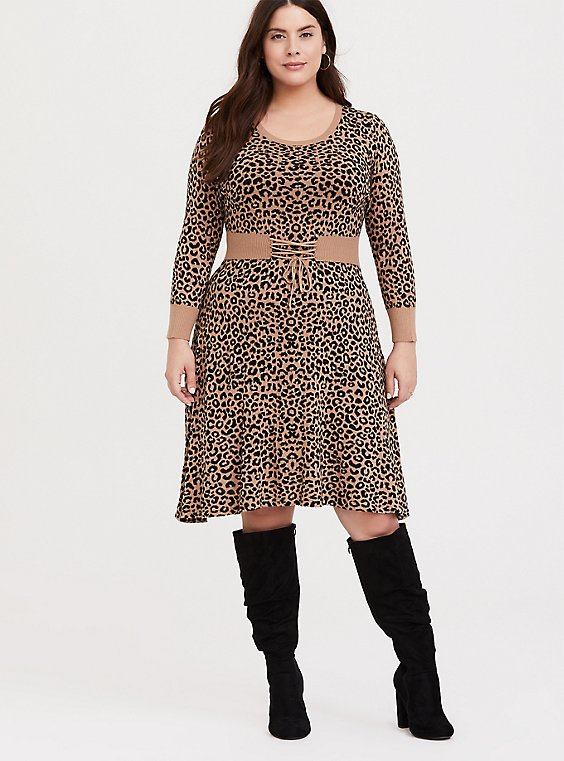 Leopard Sweater-Knit Corset Skater Dress, , hi-res