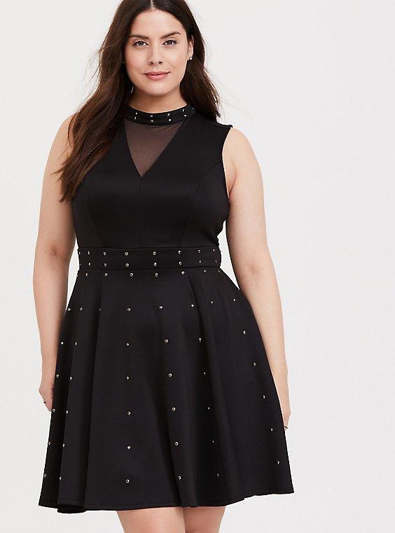 Black Scuba Knit Studded Skater Dress, , hi-res