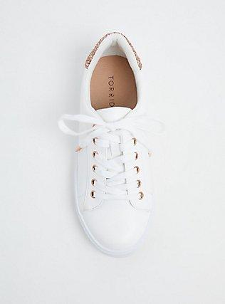 Plus Size White & Rose Gold Glitter Lace-Up Sneaker (WW), WHITE, alternate