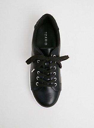 Plus Size Black Faux Leather & Glitter Lace-Up Sneaker (WW), BLACK, alternate
