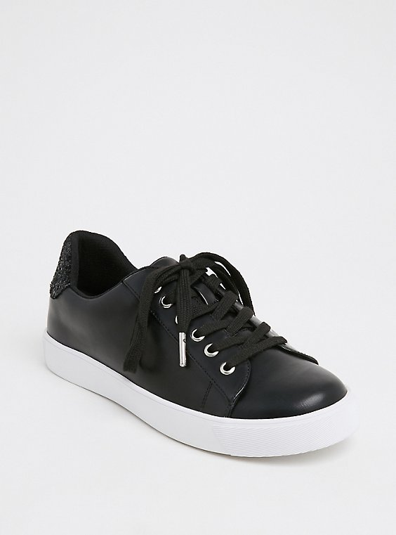 Black Faux Leather & Glitter Lace-Up Sneaker (WW), , hi-res