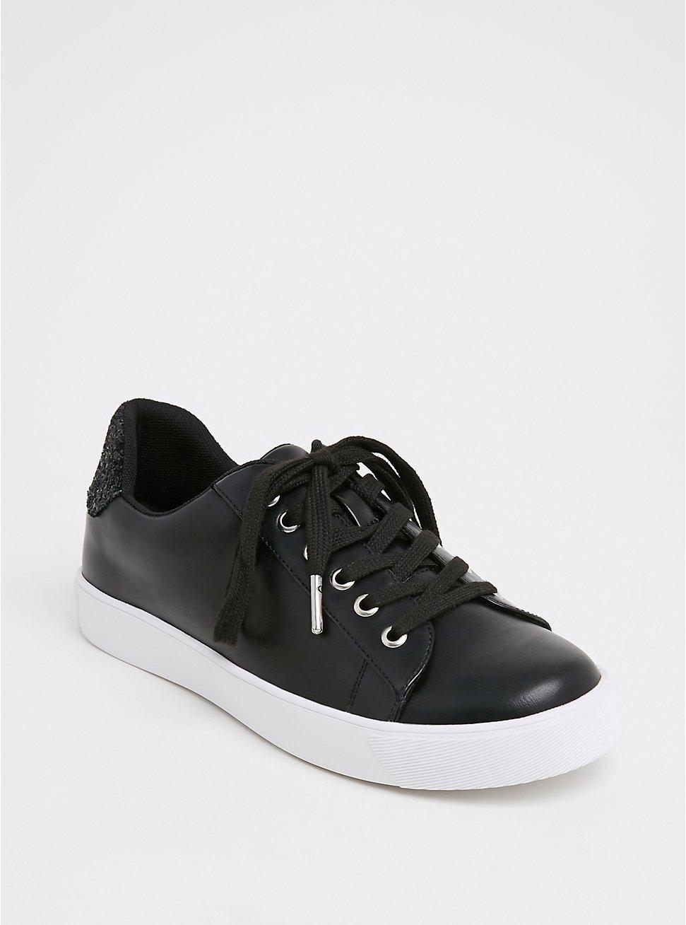 Black Faux Leather & Glitter Lace-Up Sneaker (WW), BLACK, hi-res