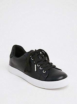 Plus Size Black Faux Leather & Glitter Lace-Up Sneaker (WW), BLACK, hi-res