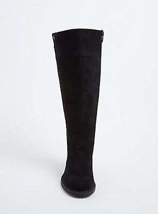 Black Faux Suede Lace-Up Back Lug Sole High Boot (Wide Width), BLACK, alternate