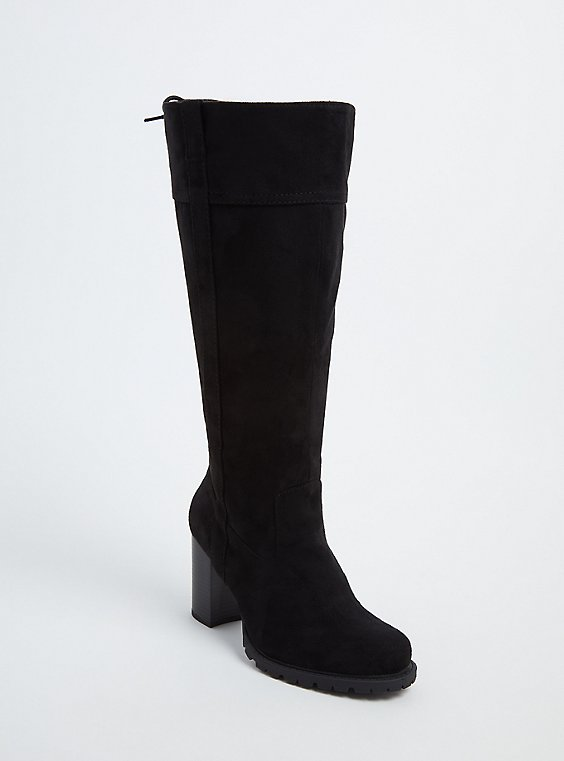 Black Faux Suede Lace-Up Back Lug Sole High Boot (Wide Width), , hi-res