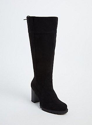 Black Faux Suede Lace-Up Back Lug Sole High Boot (Wide Width), BLACK, hi-res