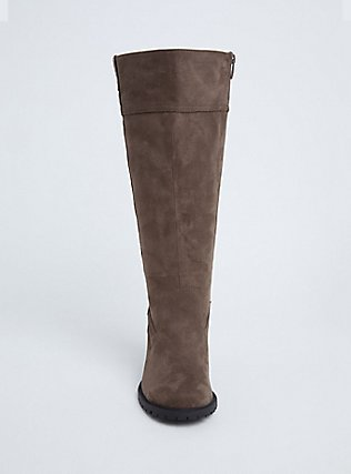 Plus Size Dark Taupe Faux Suede Back Lace-Up Knee-High Boot (WW), TAN/BEIGE, alternate