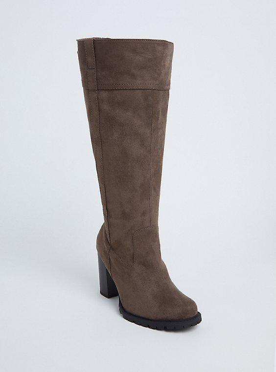 Taupe Faux Suede Back Lace-Up Block Knee-High Boot (Wide Width), , hi-res