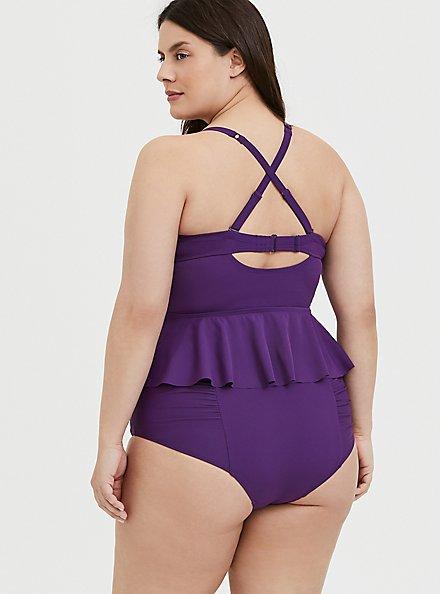 Plus Size Purple Tie Front Underwire Peplum Midkini Top, PURPLE, alternate