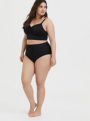 Plus Size Black Everyday Wire-Free Bikini Top, DEEP BLACK, alternate