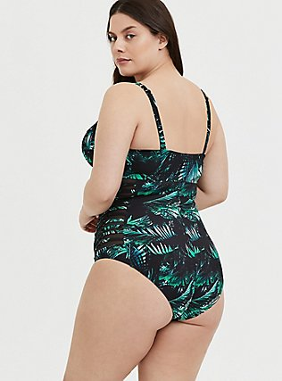 Plus Size Black & Green Palm Push-Up Demi Slim Fix One-Piece Swimsuit, MULTI, alternate