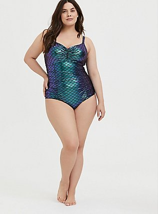 Plus Size Green Iridescent Mermaid Everyday Wire-Free One-Piece Swimsuit, MULTI, alternate