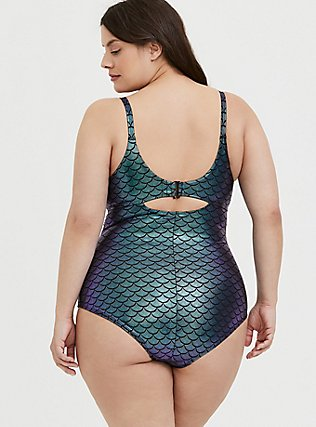 Plus Size Purple Iridescent Mermaid Everyday Wire-Free One-Piece Swimsuit, MULTI, alternate